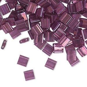 bead, tila, glass, transparent luster light amethyst gold, (tl316), 5mm square with (2) 0.8mm holes. sold per 250-gram pkg.