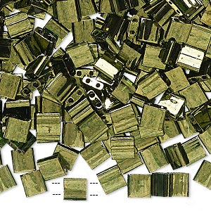 bead, tila, glass, transparent luster olive green, (tl306), 5mm square with (2) 0.8mm holes. sold per 10-gram pkg.