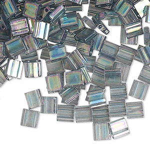 bead, tila, glass, transparent luster rainbow dark grey, (tl2440d), 5mm square with (2) 0.8mm holes. sold per 40-gram pkg.
