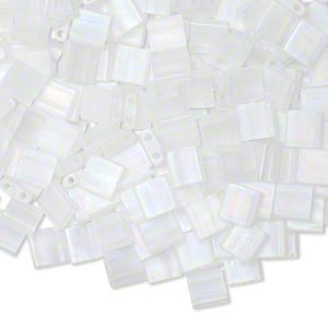 bead, tila, glass, transparent matte crystal ab, (tl131fr), 5mm square with (2) 0.8mm holes. sold per 10-gram pkg.