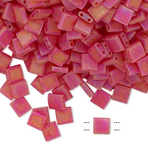 bead, tila, glass, transparent matte rainbow light fire red, (tl140fr), 5mm square with (2) 0.8mm holes. sold per 10-gram pkg.