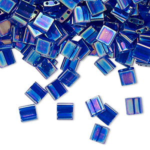 bead, tila, glass, transparent rainbow dark cobalt, (tl177), 5mm square with (2) 0.8mm holes. sold per 10-gram pkg.