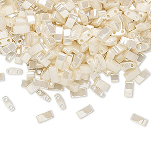 bead, tila, half tila, glass, opaque ceylon antique ivory pearl, (htl592), 5x2.3mm rectangle with (2) 0.8mm holes. sold per 250-gram pkg.