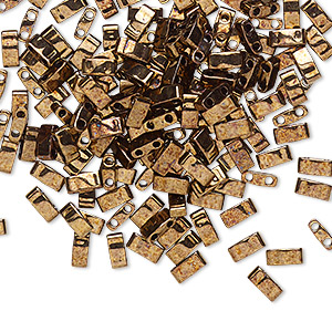 bead, tila, half tila, glass, opaque luster antique bronze, (htl457b), 5x2.3mm rectangle with (2) 0.8mm holes. sold per 10-gram pkg.