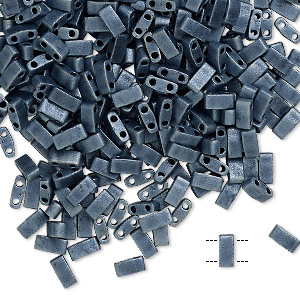bead, tila, half tila, glass, opaque matte gunmetal, (htl2001), 5x2.3mm rectangle with (2) 0.8mm holes. sold per 10-gram pkg.
