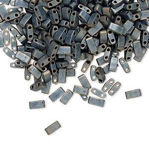 bead, tila, half tila, glass, opaque matte metallic silver grey, (htl2002), 5x2.3mm rectangle with (2) 0.8mm holes. sold per 10-gram pkg.