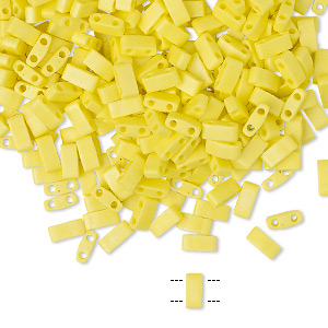 bead, tila, half tila, glass, opaque matte rainbow yellow, (htl404fr), 5x2.3mm rectangle with (2) 0.8mm holes. sold per 40-gram pkg.