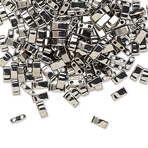 bead, tila, half tila, glass, opaque metallic nickel finish, (htl190), 5x2.3mm rectangle with (2) 0.8mm holes. sold per 10-gram pkg.