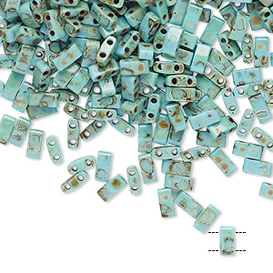 bead, tila, half tila, glass, opaque picasso antique turquoise blue, (htl4514), 5x2.3mm rectangle with (2) 0.8mm holes. sold per 40-gram pkg.
