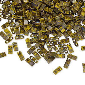 bead, tila, half tila, glass, opaque picasso mustard, (htl4519), 5x2.3mm rectangle with (2) 0.8mm holes. sold per 40-gram pkg.