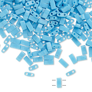 bead, tila, half tila, glass, opaque robins egg blue, (htl413), 5x2.3mm rectangle with (2) 0.8mm holes. sold per 10-gram pkg.