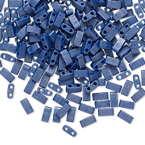 bead, tila, half tila, glass, opaque satin denim blue, (htl2075), 5x2.3mm rectangle with (2) 0.8mm holes. sold per 10-gram pkg.