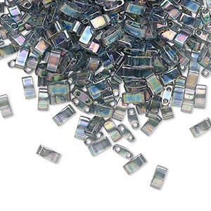 bead, tila, half tila, glass, transparent luster rainbow dark grey, (htl2440d), 5x2.3mm rectangle with (2) 0.8mm holes. sold per 10-gram pkg.