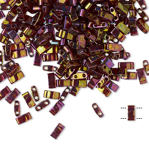 bead, tila, half tila, glass, transparent luster rainbow dark topaz gold, (htl301), 5x2.3mm rectangle with (2) 0.8mm holes. sold per 10-gram pkg.