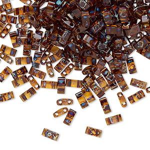bead, tila, half tila, glass, transparent picasso amber brown, (htl4502), 5x2.3mm rectangle with (2) 0.8mm holes. sold per 10-gram pkg.