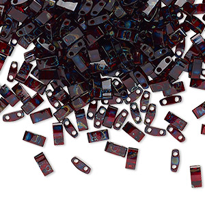 bead, tila, half tila, glass, transparent picasso red, (htl4504), 5x2.3mm rectangle with (2) 0.8mm holes. sold per 10-gram pkg.