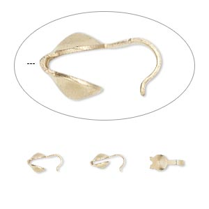 bead tip, 14kt gold-filled, 7x3.5mm bottom clamp-on with 0.029-inch hole. sold per pkg of 10.