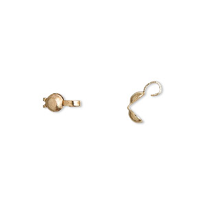 bead tip, gold-plated brass, 8x3.5mm bottom clamp-on with 0.029-inch hole. sold per pkg of 500.