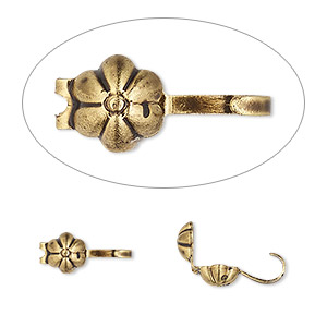 bead tip, hot tips, antique gold-plated brass, 8x5mm bottom clamp-on with flower and open loop. sold per pkg of 100.