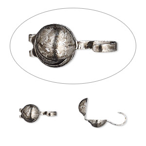 bead tip, hot tips, antique silver-plated brass, 9x5mm crescent moon. sold per pkg of 100.