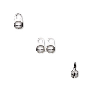 bead tip, stainless steel, 8x4mm side clamp-on, fits 3.2mm ball chain. sold per pkg of 10.