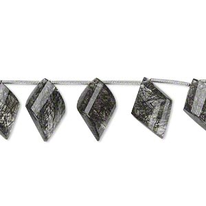 bead, tourmalinated quartz (natural), 15x10mm-18x12mm graduated hand-cut top-drilled faceted twisted diamond, b+ grade, mohs hardness 7. sold per pkg of 5 beads.