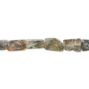 bead, tourmalinated quartz (natural), 7x4mm-12x6mm hand-cut square tube, d- grade, mohs hardness 7. sold per 12-inch strand.