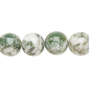 bead, tree agate (natural), 12mm round, b grade, mohs hardness 6-1/2 to 7. sold per 16-inch strand.