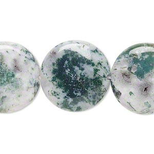 bead, tree agate (natural), 20mm flat round, b grade, mohs hardness 6-1/2 to 7. sold per 16-inch strand.