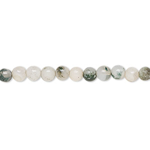 bead, tree agate (natural), 4mm round, b grade, mohs hardness 6-1/2 to 7. sold per 16-inch strand.
