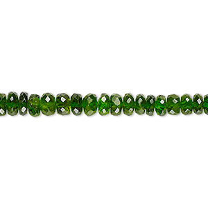 bead, tsavorite garnet (natural), 3x1mm-5x3mm graduated hand-cut faceted rondelle, b grade, mohs hardness 7 to 7-1/2. sold per 8-inch strand.
