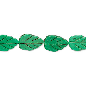 bead, turquoise (dyed / imitation), apple green, 14x9mm carved flat leaf. sold per 15-inch strand.