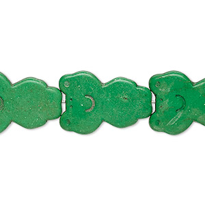 bead, turquoise (dyed / imitation), apple green, 21x15mm carved frog. sold per 15-inch strand.