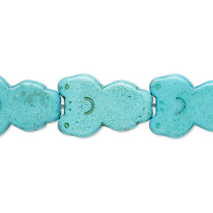 bead, turquoise (dyed / imitation), blue-green, 22x14mm-22x15mm carved flat frog. sold per 15-inch strand.