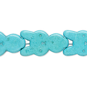 bead, turquoise (dyed / imitation), blue-green, 27x15mm-28x15mm carved flat rabbit. sold per 15-inch strand.