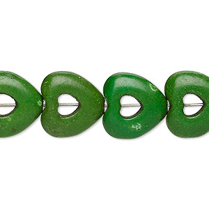 bead, turquoise (dyed / imitation), dark apple green, 15x15mm open heart with 4x4mm center hole. sold per 15-inch strand.