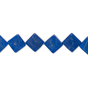 bead, turquoise (dyed / imitation), lapis blue, 10x10mm flat diamond. sold per 15-inch strand.