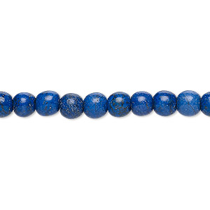bead, turquoise (dyed / imitation), lapis blue, 5-6mm round. sold per 15-inch strand.