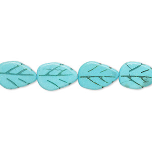 bead, turquoise (dyed / imitation), turquoise blue, 13x9mm carved flat leaf. sold per 15-inch strand.