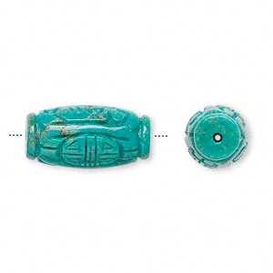 bead, turquoise (dyed / stabilized), 22x10mm carved oval, b grade, mohs hardness 5 to 6. sold individually.