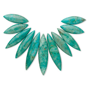 bead, turquoise (dyed / stabilized), 30x9mm-53x12mm graduated fan, b grade, mohs hardness 5 to 6. sold per 11-piece set.