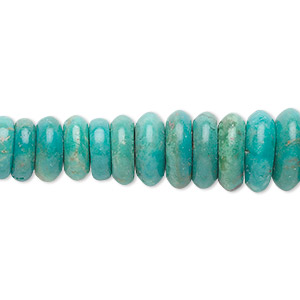 bead, turquoise (dyed / stabilized), 4x2mm-16x4mm graduated rondelle, b grade, mohs hardness 5 to 6. sold per 16-inch strand.