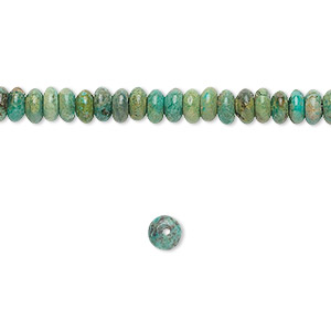 bead, turquoise (dyed / stabilized), 4x2mm rondelle, c grade, mohs hardness 5 to 6. sold per 16-inch strand.