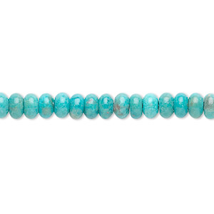 bead, turquoise (dyed / stabilized), 5x3mm rondelle, b grade, mohs hardness 5 to 6. sold per 16-inch strand.