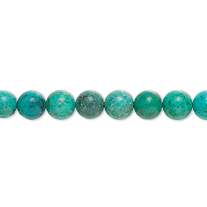 bead, turquoise (dyed / stabilized), 6mm round, b grade, mohs hardness 5 to 6. sold per 16-inch strand.