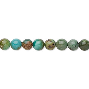 bead, turquoise (dyed / stabilized), 6mm round, c grade, mohs hardness 5 to 6. sold per 16-inch strand.