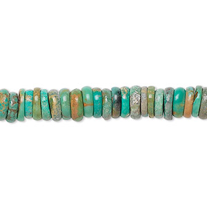 bead, turquoise (dyed / stabilized), 6x2mm-6x3mm heishi, c grade, mohs hardness 5 to 6. sold per 15-inch strand.