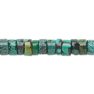 bead, turquoise (dyed / stabilized), 7x4mm heishi, c grade, mohs hardness 5 to 6. sold per 16-inch strand.