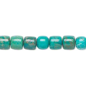 bead, turquoise (dyed / stabilized), 7x7mm drum, c grade, mohs hardness 5 to 6. sold per 16-inch strand.