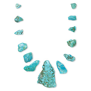 bead, turquoise (dyed / stabilized), blue / blue-green / green, 8x3mm-48x10mm graduated top-drilled freeform, c grade, mohs hardness 5 to 6. sold per pkg of 13.
